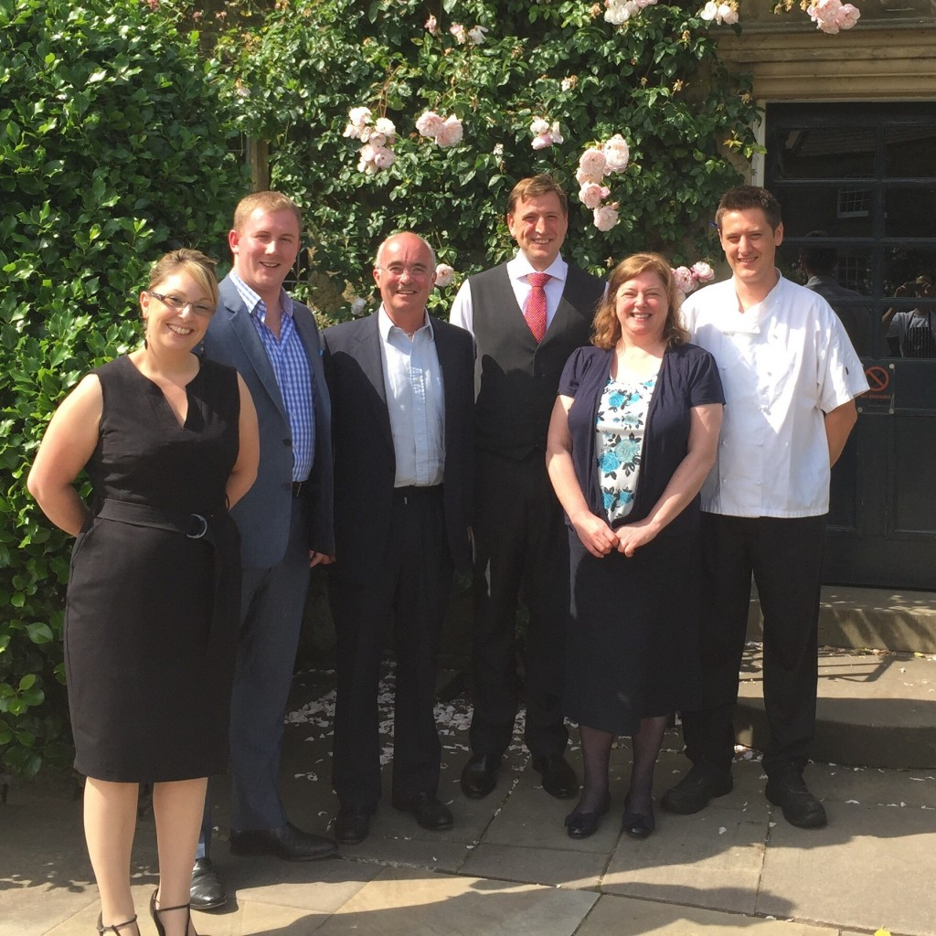 From left: Laura Ball (Assistant Manager), Chris Tomlinson (General Manager), Lord Edward Manners (owner), Oliver Fry (Restaurant Manager), Heather Barnes (Finance Director), Dan Smith (Head Chef)