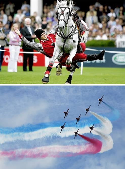 A rider performing whilst riding and fighter jets perform an aerial spectical